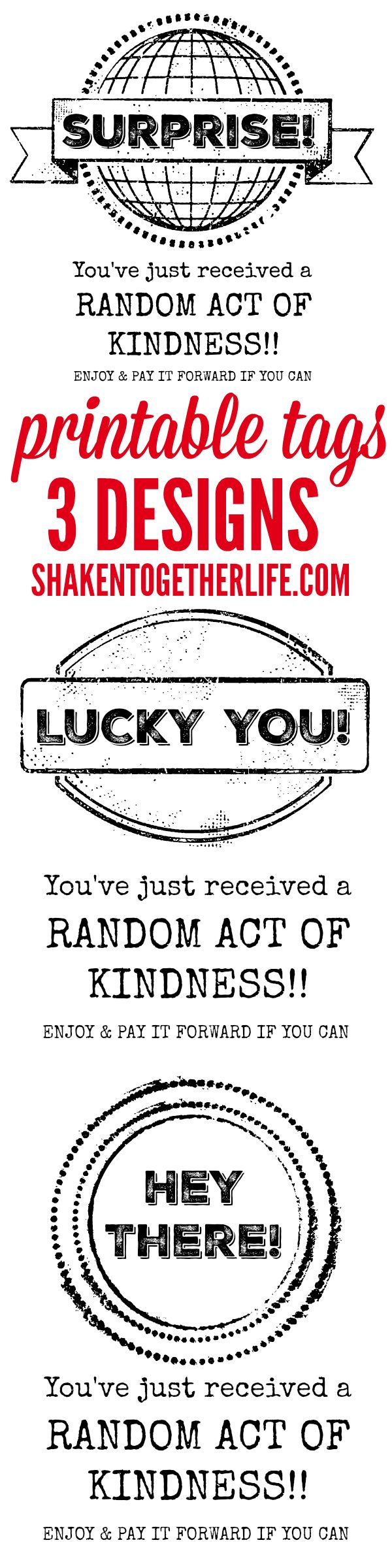 Are you ready to share some smiles? Leave behind a little love? Shower your community with generosity? Then grab a few of our Printable Random Acts of Kindness tags and spread the love! #RAK #randomactsofkindness