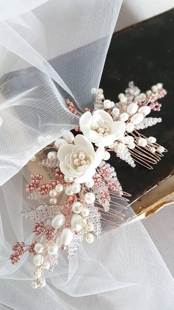 Rose Gold Bridal hair comb, Rose Gold Bridal headpiece, Bridal hair piece, Wedding hair piece, Wedding hair comb, Wedding headpiece
