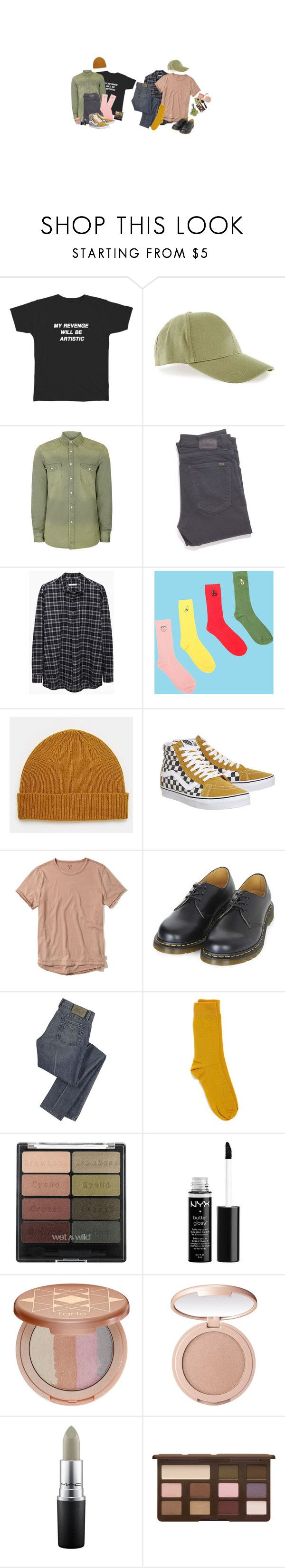 """""""Girl, Where'd You Go?"""" by irondeficient ❤ liked on Polyvore featuring Nudie Jeans Co., 6397, UNIF, ASOS, Vans, Hollister Co., Dr. Martens, Marc by Marc Jacobs, Topman and NYX"""