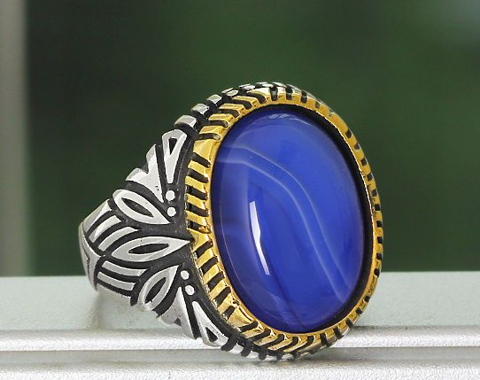 MEN's Ring Sterling Silver 925 K with Natural Agate Blue Size 10.5 US Handmade #YKL #Statement