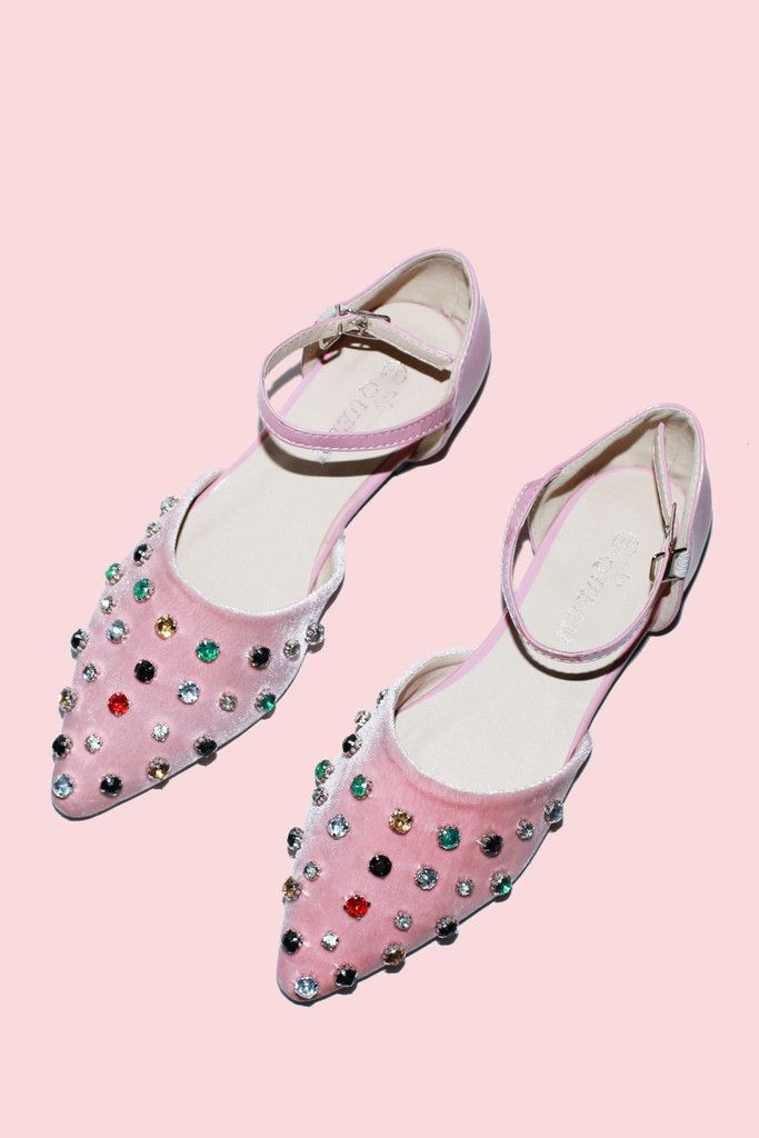 pink flats with colorful gems, fashion diy ideas
