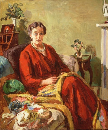 Ethel Grant by Vanessa Bell, 1934. Duncan Grant's mother Ethel Grant made up the tapestries he designed, so the chances are that in this painting she is sewing one of his designs