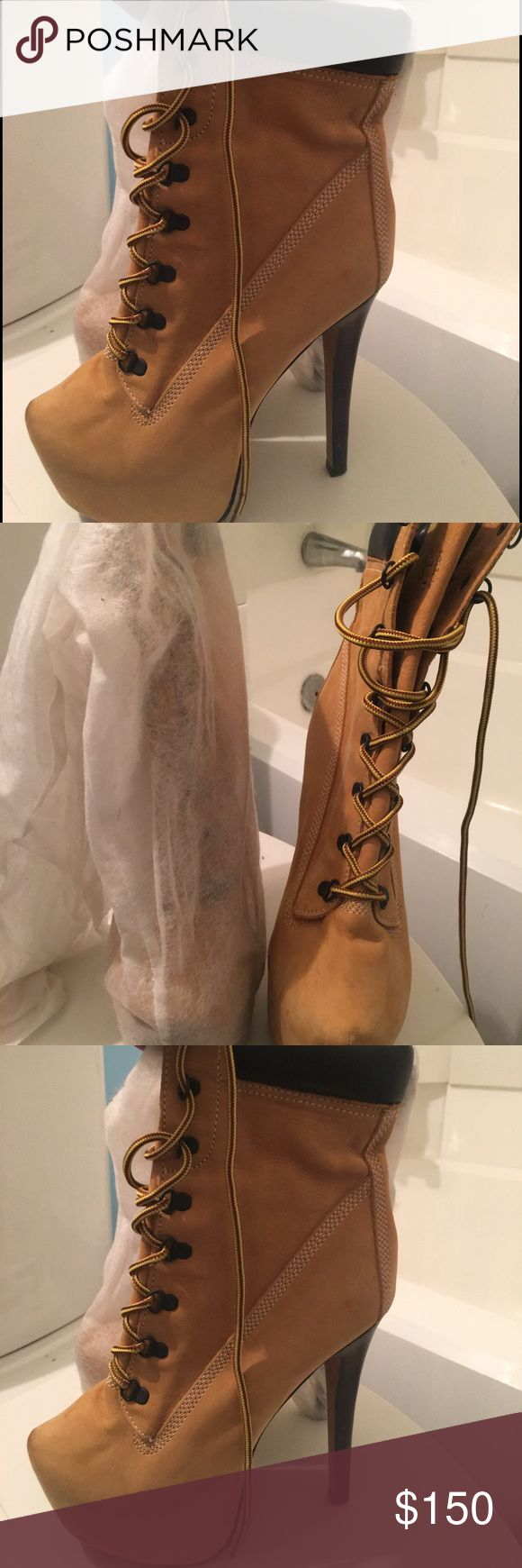 Zigi Z-Lo Suede High heels ‼️NEVER BEEN WORN‼️ Tan and leather dark brown trim 4+ HEEELS NEVER BEEN WORN Brand New out the Bag. 🛑MUST SELL‼️ MAKE AN OFFER⁉️ Timberland Shoes Ankle Boots & Booties