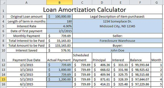 Updating Loan Amortization Calculator Up To 30 Year Etsy Amortization Schedule Payday Loans Loan