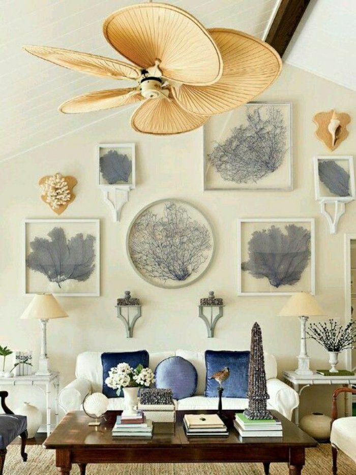 plafonnier ventilateur en forme de fleur blanc, chambre avec peintures