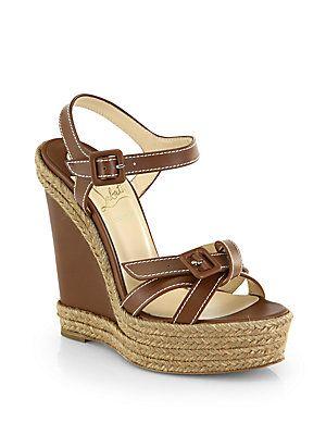 christian louboutin leopard mens shoes - christian louboutin leather puglia slingback wedges, christian ...