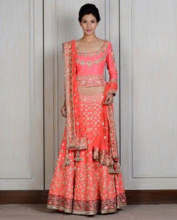 Gorgeous Coral Embroidered Raw Silk #Lehenga @ http://www.ManishMalhotra.in/women.html eStore