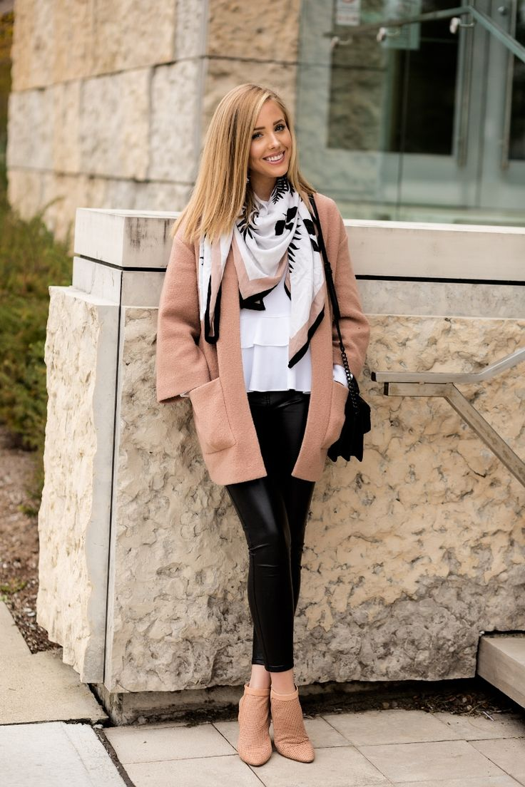 White blouse, leather pants, nude jacket and printed scarf.  Perfect for Fall!  #leather #nude #black #fallstyle #bloggerstyle #fashionblogger #fashion #whiteblouse