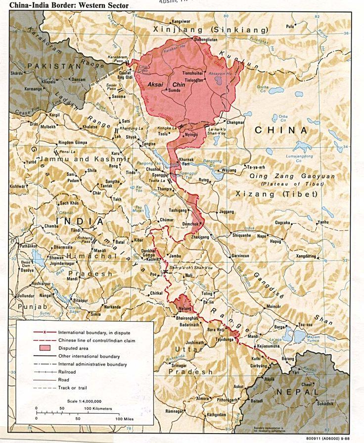 India - China border showing Aksai Chin (अक्साई चिन)
