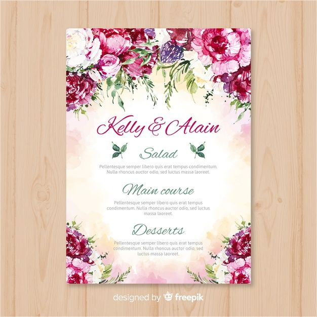 Watercolor Nature Wedding Menu Template Free Vector Free