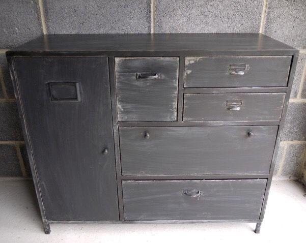Vintage Industrial Metal Sideboard Cabinet Retro Style Storage Chest Of  Drawers In Home, Furniture U0026