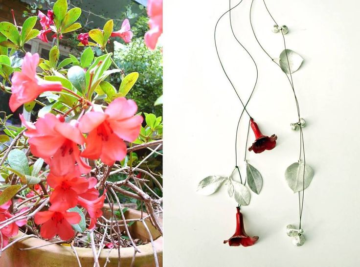 Marian Hosking -  Rhododendron necklace 2015 925 silver, paints, thread