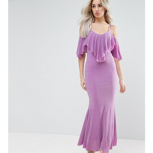 City Goddess Petite Maxi Dress With Frill Detail ($28) ❤ liked on Polyvore featuring dresses, petite, purple, petite bodycon dresses, purple bodycon dress, bodycon dresses, bodycon maxi dress and tall maxi dresses