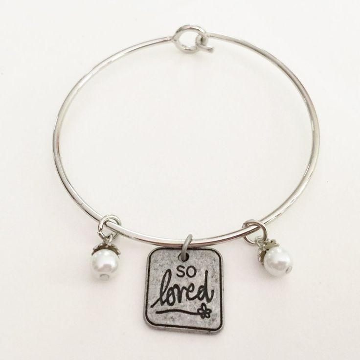 Silver Bangle Charm Bracelet - So Loved