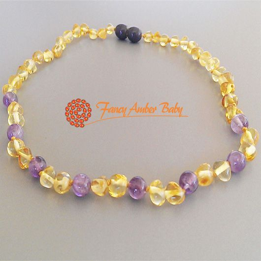 Fancy Amber Baby - Lemon Amber and Amethyst Necklace