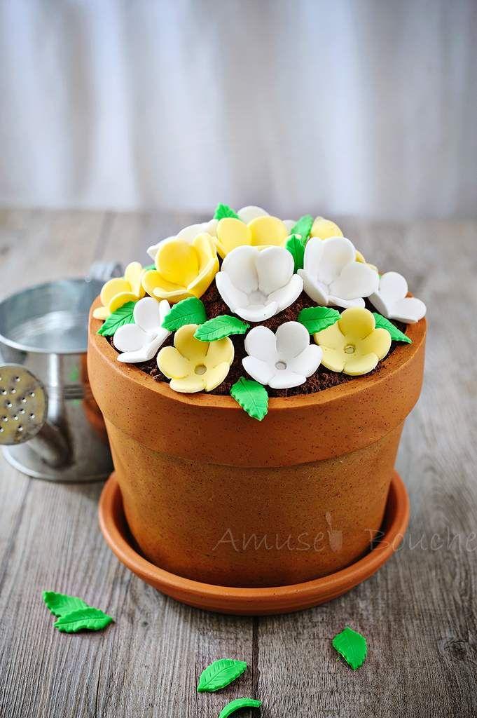 Gâteau pot de fleur pour fête des mères