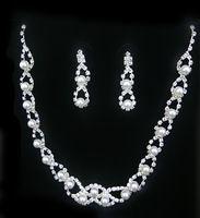 2014 nueva joyería africana establece, encanto de la flor del collar del Color blanco perla de la joyería para el partido y la boda del envío gratis