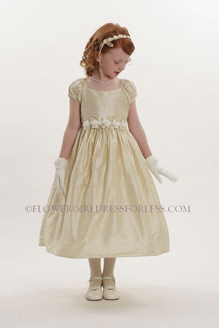 5013CH - Flower Girl Dress Style 5013-VALUE PRICE Short Sleeved Champagne Gold 100% Silk Dress - Size 7-14 - Flower Girl Dress For Less