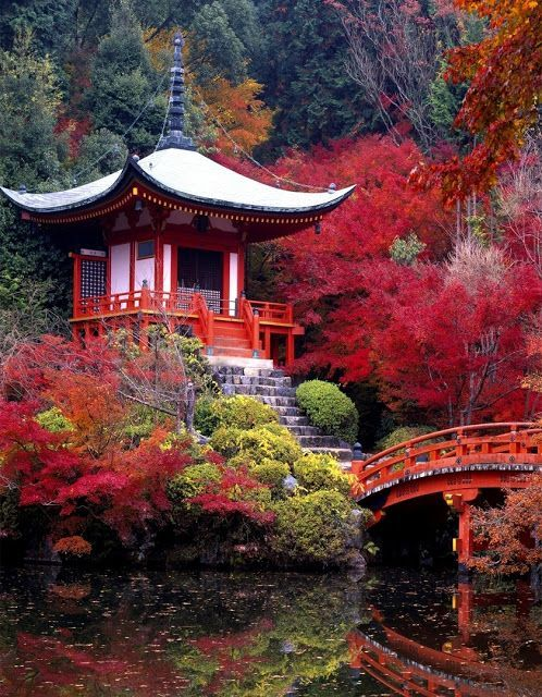Buddhist Ceremony Traditional Japanese Garden: Daigo Ji Buddhist Temple, Kyoto, Japan: