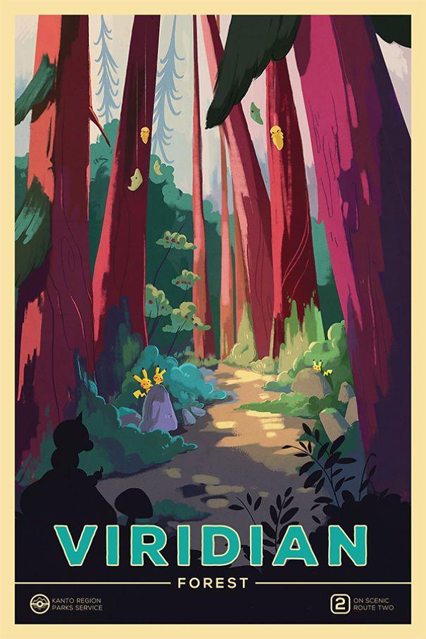 Janice Rosenthal Pokemon vintage national park poster Viridian City Pikachu