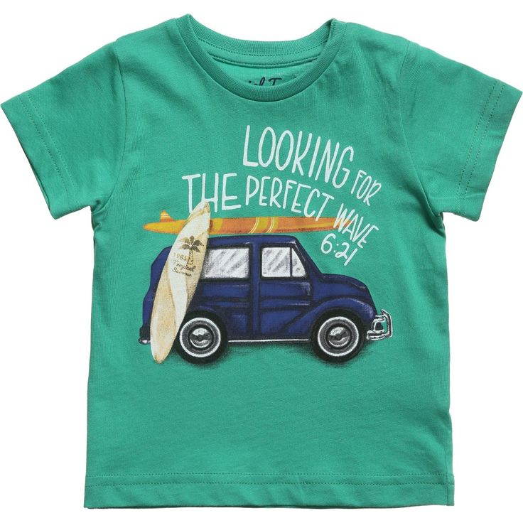 Mayoral baby boys green short sleeved t-shirt made from soft cotton jersey with a cool car and surfboard print on the front and poppers on the shoulder for easy dressing.