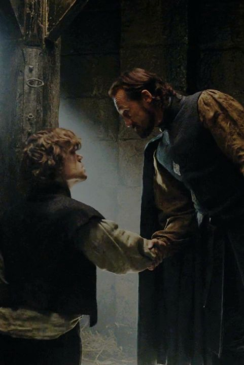 A heartfelt handshake between Tyrion and Bron, Game of Thrones Season 4