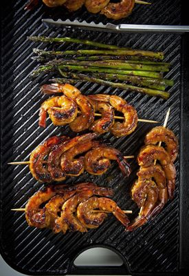 Cane Syrup-Glazed Grilled Shrimp with Asparagus_ Lighter and less ...