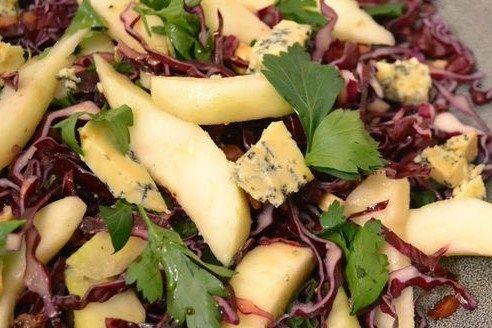 rode kool salade blauwe kaas in respecten