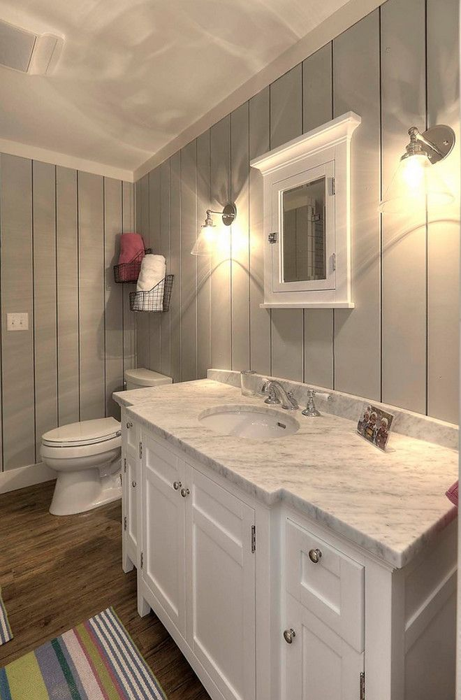 Grey Shiplap Paint Color Sherwin Williams SW 7057 Silver Strand. Downstairs bath- easy fix