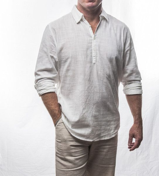 White 3 button cotton shirt $69