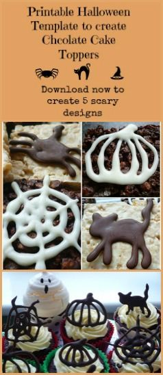 Create easy Halloween Themed Chocolate Cake Toppers that are edible using my printable template - Halloween Cake Decorations