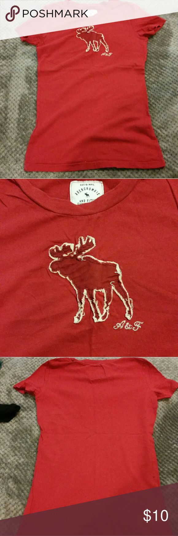 Abercrombie and Fitch Red Tshirt Too small for me. Fits like a kids size. Abercrombie & Fitch Tops Tees - Long Sleeve