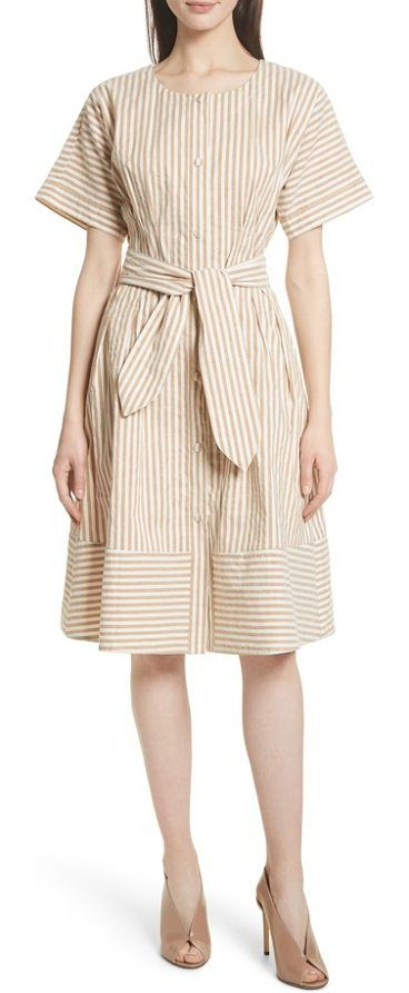 vintage stripe stretch cotton & linen dress by Grey Jason Wu. Sand-hued stripes add vintage charm to the softly rumpled fabric of this smartly belted short-sleeve sundress. Style Name: Grey Jason Wu Vintage Stripe Stretch Cotton & Linen Dress. Style Number: 5566735. Available in stores. #greyjasonwu #dresses