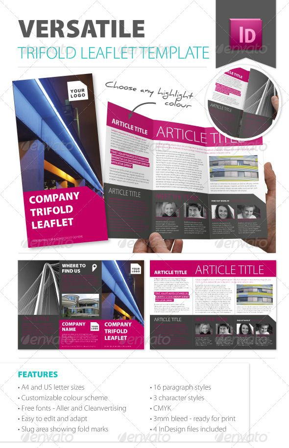 Versatile Trifold Leaflet Template  #GraphicRiver         A versatile, modern trifold leaflet template with a clean, fresh layout.  Could be used as a mini corporate brochure, a promotional product leaflet, a conference/exhibition handout among many other things.   Files Included and Technical Details • 2 print-ready InDesign files – A4 size and US Letter size • Both set up with 3mm bleed and CMYK swatches – just add text and high res images.  • Slug area shows intended fold/score marks and…