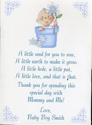 Seed Poems For Babyshower Baby Shower Seed Packet Favor