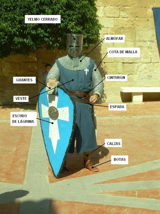 Partes de la vestimenta de un caballero medieval del siglo XIII.