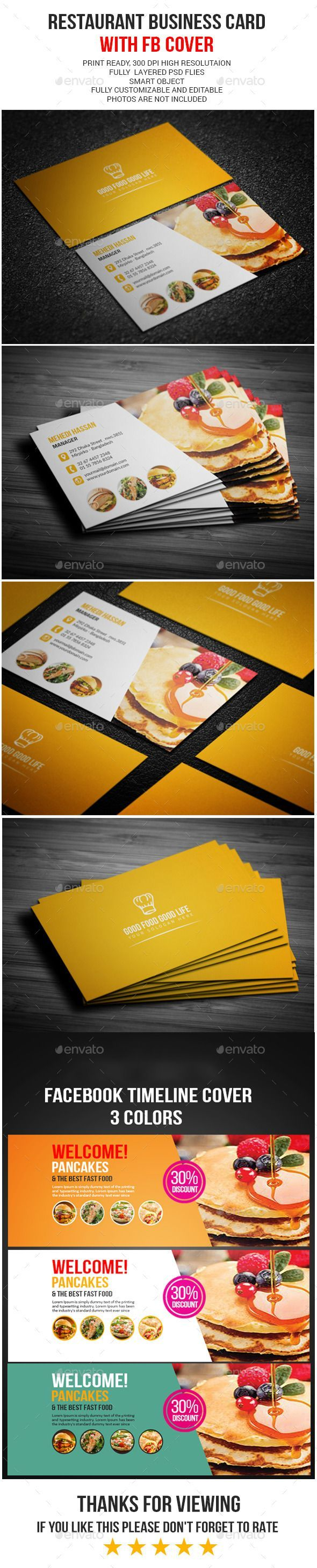 Restaurant Business Card u2014 Photoshop PSD visiting