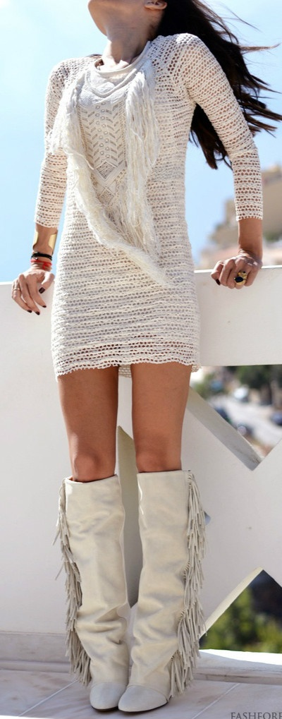 love the boots and dress!! Just a little loner on the dress!