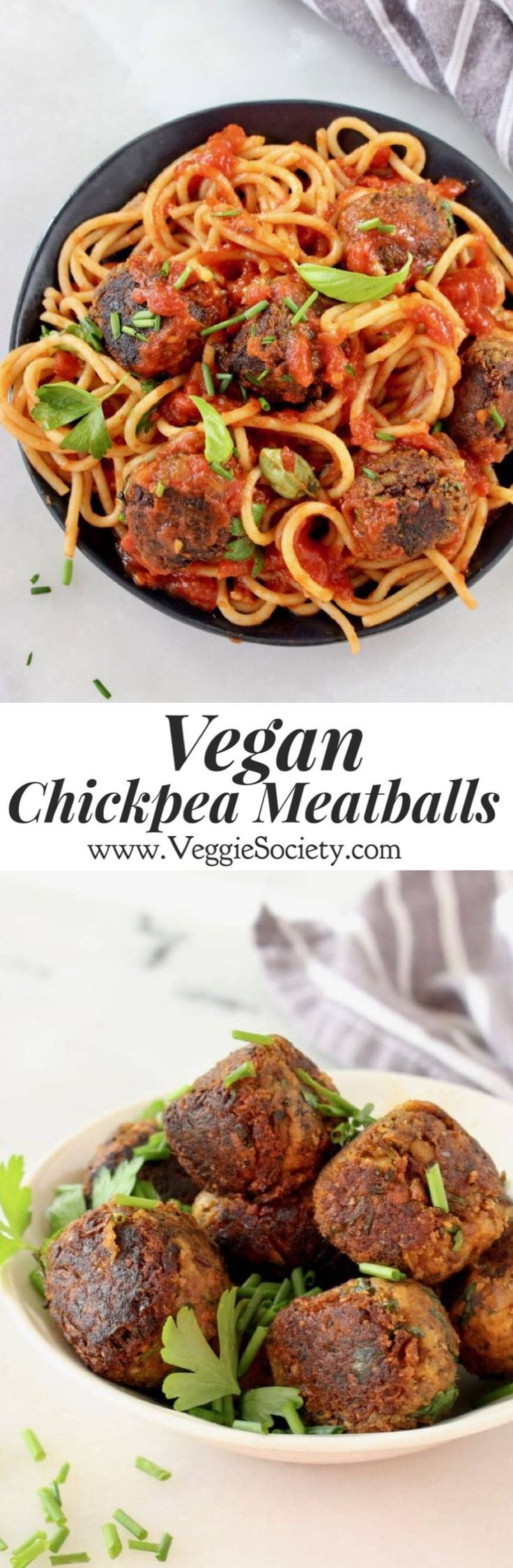 Vegan Chickpea Meatballs with Mushrooms and Herbs that we bind together with chickpea flour and flax eggs | VeggieSociety.com @VeggieSociety