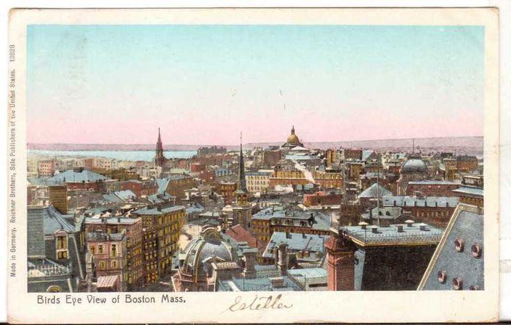 1906 Postmarked Postcard Birds Eye View of Boston Massachusetts MA Shiny Windows