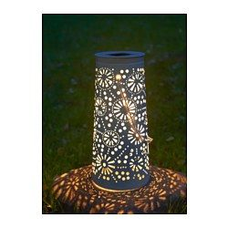 "SOLVINDEN LED solar-powered floor lamp, cone-shaped white - 17 3/4 "" - IKEA"