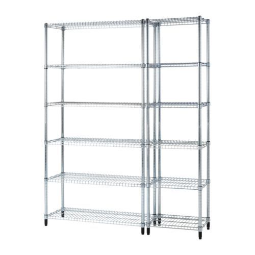 IKEA - OMAR, 2 étagères, Montage facile sans outils.Reste stable même sur un sol irrégulier car les pieds peuvent être réglés.