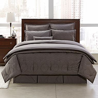 royal velvet charcoal 400tc duvet cover u0026 more jcpenney - Royal Velvet Sheets