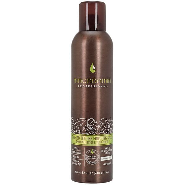 Macadamia Professional Tousled Texture Finishing Spray Travel Size ($10) ❤ liked on Polyvore featuring beauty products, haircare, styling products and macadamia hair care