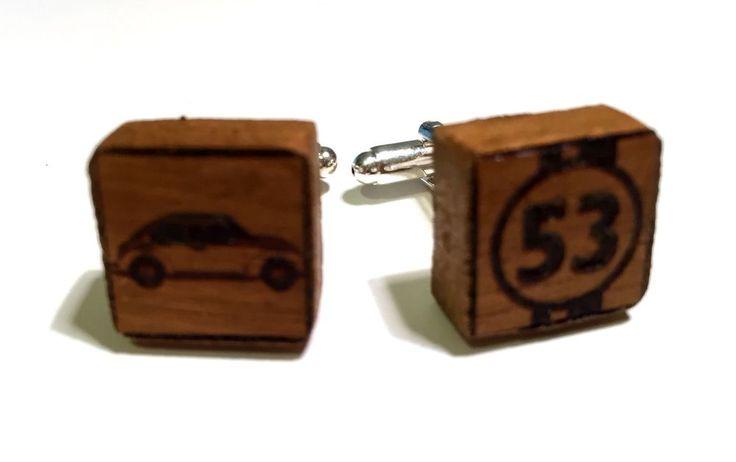Wooden Cufflinks 100% Handmade _ Herbie Scarabeo Theme #27WoodenAccessories