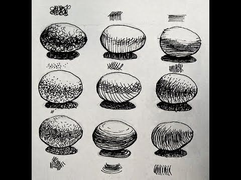 Pen and Ink Shading Challenge   9 Ways to shade an egg ️ ...