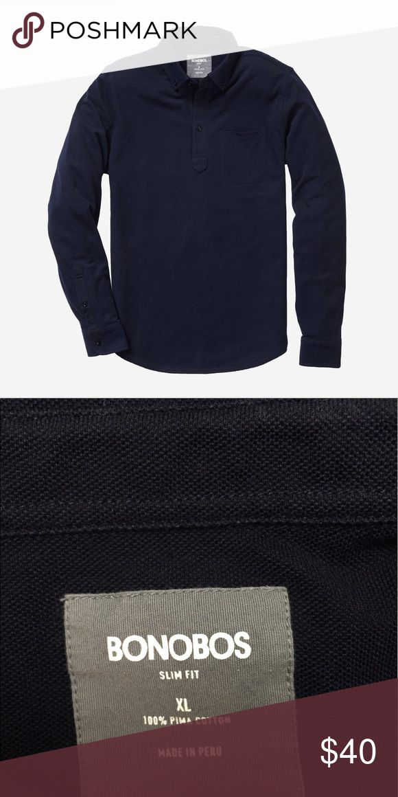 Bonobos men's navy long sleeved pique polo shirt Brand-new never worn bonobos long sleeve polo shirt. PIque fabric. You can wear this classic shirt all year round. Brand-new without tags's. Slim fit. Classic oxford shirt details. Button down collar. 100% cotton. Bonobos Shirts Polos