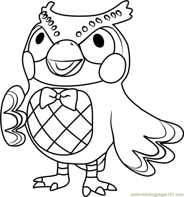 Animal crossing Blathers colouring page Animal crossing
