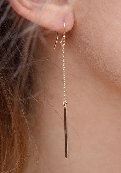 This elegant drop earrings features vertical base metal strip design and short hook backings. | Lookbook Store What's New