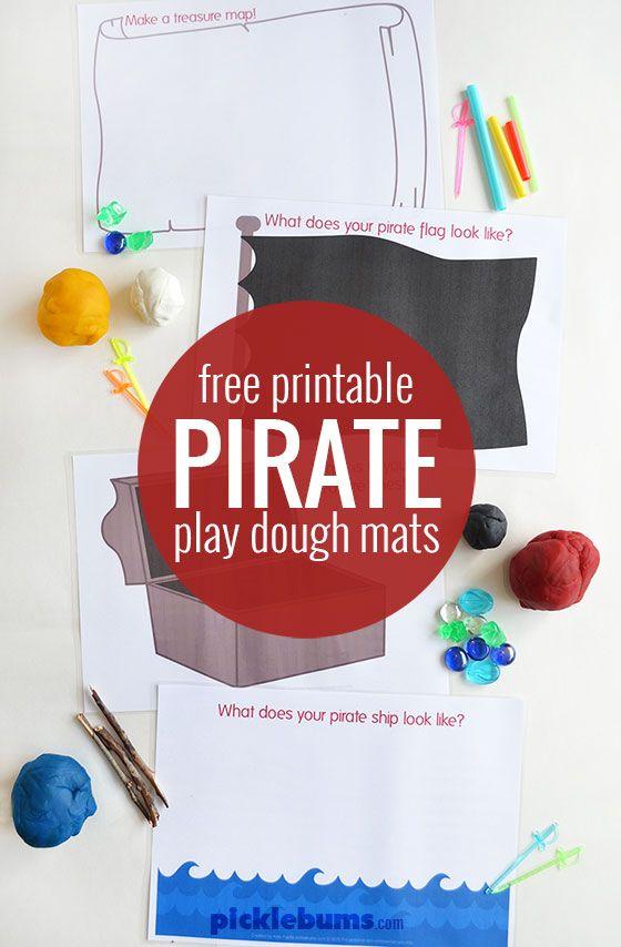 Free printable pirate themed play dough mats